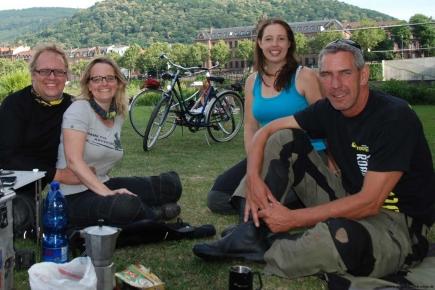 Motorradausfahrt, Heidelberg, Neckarwiese, Einspurig-Unterwegs